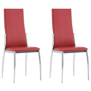 VidaXL Dining Chairs 2 pcs Red Faux Leather