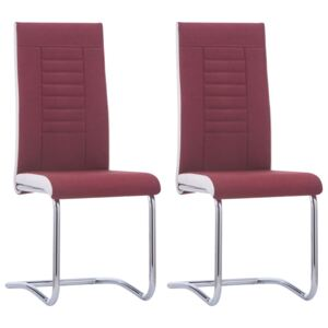 VidaXL Cantilever Dining Chairs 2 pcs Wine Red Fabric