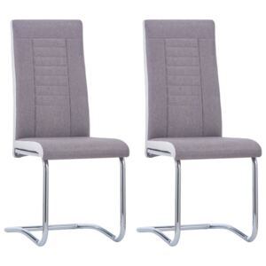 VidaXL Cantilever Dining Chairs 2 pcs Taupe Fabric