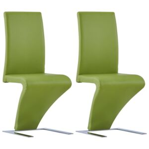 VidaXL Dining Chairs with Zigzag Shape 2 pcs Green Faux Leather