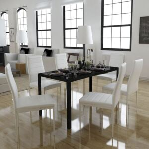 7 Piece Dining Table Set Black and White