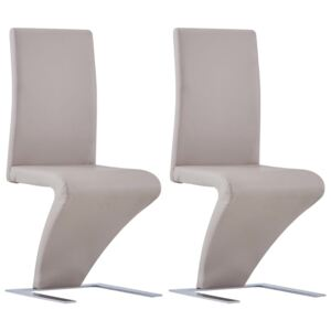 VidaXL Dining Chairs with Zigzag Shape 2 pcs Cappuccino Faux Leather