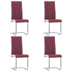 VidaXL Cantilever Dining Chairs 4 pcs Wine Red Fabric