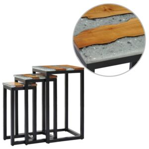 Nesting Tables 3 pcs Solid Teak Wood and Polyresin