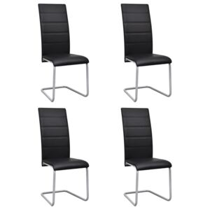 VidaXL Cantilever Dining Chairs 4 pcs Black Faux Leather