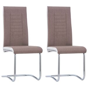 Cantilever Dining Chairs 2 pcs Brown Fabric