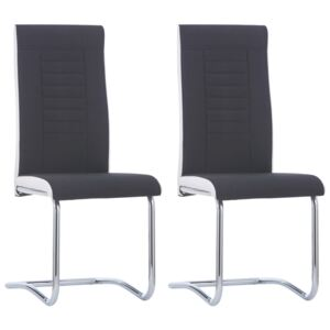 Cantilever Dining Chairs 2 pcs Black Fabric