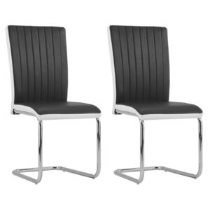 Cantilever Dining Chairs 2 pcs Black Faux Leather