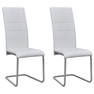 Cantilever Dining Chairs 2 pcs White Faux Leather