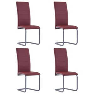 VidaXL Cantilever Dining Chairs 4 pcs Red Faux Leather