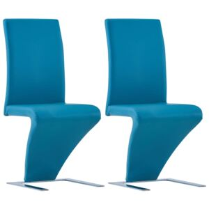 VidaXL Dining Chairs with Zigzag Shape 2 pcs Blue Faux Leather