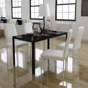 VidaXL 5 Piece Dining Table Set Black and White