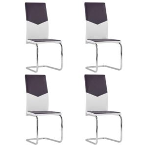Cantilever Dining Chairs 4 pcs Brown Faux Leather