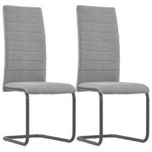 Cantilever Dining Chairs 2 pcs Light Grey Fabric