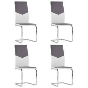 VidaXL Cantilever Dining Chairs 4 pcs Grey Faux Leather