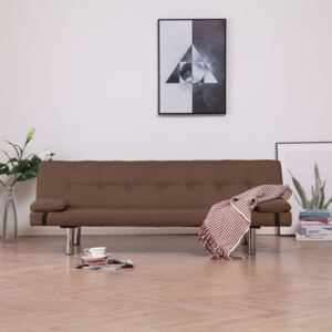VidaXL Sofa Bed with Two Pillows Brown Fabric