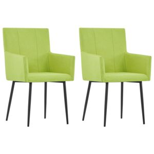VidaXL Dining Chairs with Armrests 2 pcs Green Fabric
