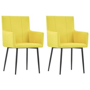 VidaXL Dining Chairs with Armrests 2 pcs Yellow Fabric