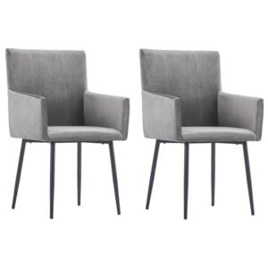 Dining Chairs with Armrests 2 pcs Grey Velvet