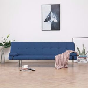 VidaXL Sofa Bed with Two Pillows Blue Fabric