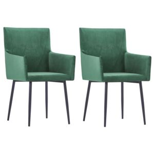 VidaXL Dining Chairs with Armrests 2 pcs Green Velvet