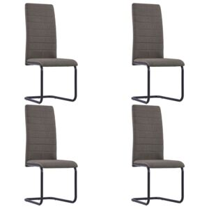 VidaXL Cantilever Dining Chairs 4 pcs Taupe Fabric