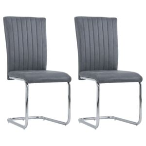 Cantilever Dining Chairs 2 pcs Grey Faux Suede Leather