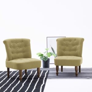 French Chairs 2 pcs Green Fabric
