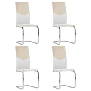 Cantilever Dining Chairs 4 pcs Cappuccino Faux Leather