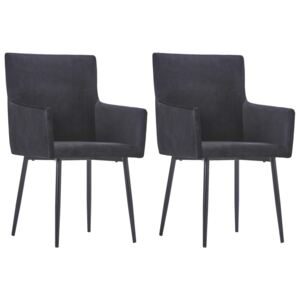 Dining Chairs with Armrests 2 pcs Black Velvet