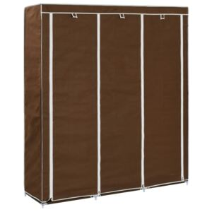 Wardrobe with Compartments and Rods Brown 150x45x175 cm Fabric