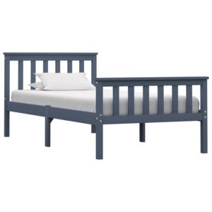 Bed Frame Grey Solid Pinewood 90x190 cm