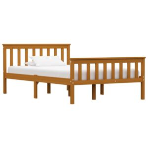 Bed Frame Honey Brown Solid Pinewood 120 x 190 cm