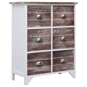 Side Cabinet with 6 Drawers Brown 60x30x75 cm Paulownia Wood