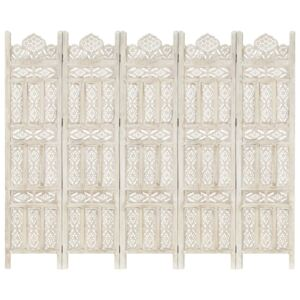 Hand carved 5-Panel Room Divider White 200x165 cm Solid Mango Wood