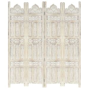 Hand carved 4-Panel Room Divider White 160x165 cm Solid Mango Wood