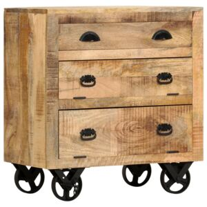 Side Cabinet with Wheel 70x40x75 cm Solid Mango Wood