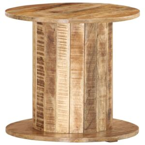 Round Side Table 50x50x46 cm Solid Rough Mango Wood