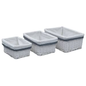 3 Piece Stackable Basket Set White Willow