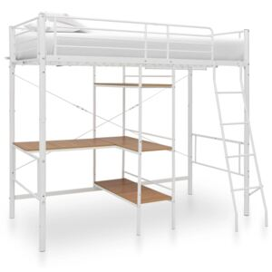 VidaXL Bunk Bed with Table Frame White Metal 90x200 cm