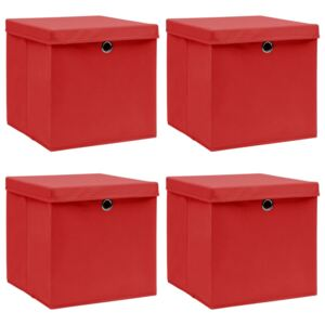 Storage Boxes with Lids 4 pcs Red 32x32x32 cm Fabric