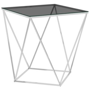 289033 Coffee Table Silver and Black 50x50x55 cm Stainless Steel