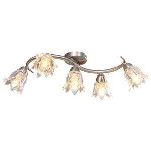 VidaXL Ceiling Lamp with Transparent Glass Shades for 5 E14 Bulbs Tulip