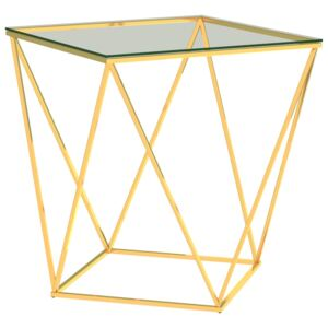 VidaXL Coffee Table Gold and Transparent 50x50x55 cm Stainless Steel