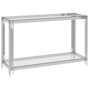 VidaXL Side Table Silver 120x40x78 cm Stainless Steel and Glass