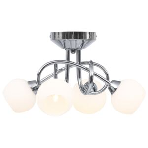 VidaXL Ceiling Lamp with Round White Ceramic Shades for 4 G9 Bulbs