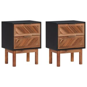 Nightstands 2 pcs 40x30x53 cm Solid Acacia Wood and MDF