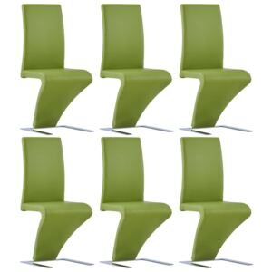 VidaXL Dining Chairs with Zigzag Shape 6 pcs Green Faux Leather