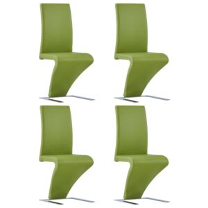 VidaXL Dining Chairs with Zigzag Shape 4 pcs Green Faux Leather