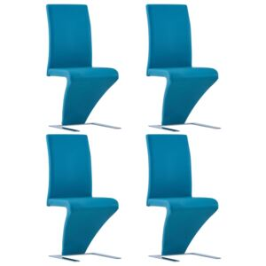 VidaXL Dining Chairs with Zigzag Shape 4 pcs Blue Faux Leather